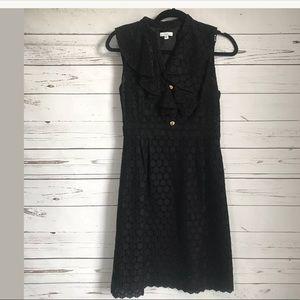SHOSHANNA Size 4 BLACK RUFFLE EYELET DRESS SZ 4